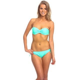 Women's Mint Green Nylon and Spandex Underwire Bandeau Bikini Top