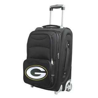 Denco Green Bay Packers Black Ballistic Nylon 21-inch Carry-on 8-wheel Spinner Suitcase