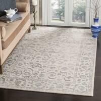 Safavieh Handmade Glamour Floral Silver/ Ivory Viscose Area Rug - 4' x 6'