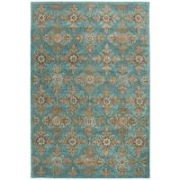 Safavieh Heritage Traditional Handmade Turquoise/ Multi Wool Rug - 4' x 6'
