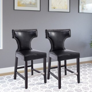 CorLiving Kings Black Wood/ Leather/ Metal Counter-height Barstool (Set of 2)