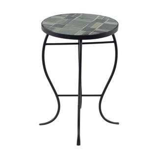 Mosaic Tile Round-top Table with Metal Base