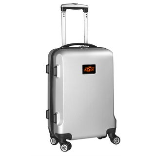 Denco Oklahoma State Silver Plastic 20-inch Hardside Carry-on 8-wheel Spinner Suitcase