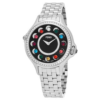 Fendi Women's F107031000B2T05 'CrazyCarats' Black Diamond Dial Stainless Steel Swiss Quartz Watch