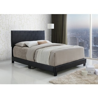 LYKE Home Espresso Upholstered Platform Bed