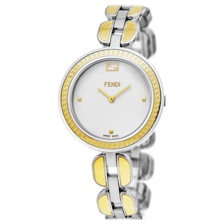 Fendi Women's F351134000 'My Way' White Dial Stainless Steel Two Tone Fur Adorned Large Swiss Quartz Watch