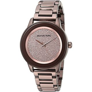 Michael Kors Women's MK6245 'Kinley' Crystal Brown Stainless Steel Watch