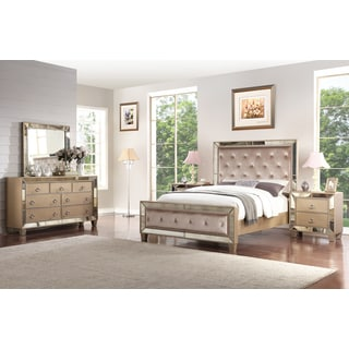 Abbyson Chateau Mirrored Tufted 5 Piece Bedroom Set