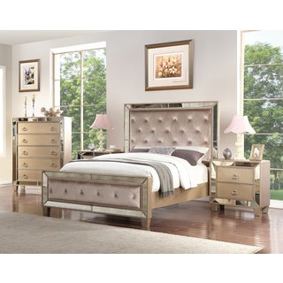 Abbyson Chateau Mirrored Tufted 4 Piece Bedroom Set