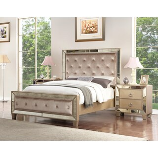 Abbyson Chateau Mirrored Tufted 3 Piece Bedroom Set