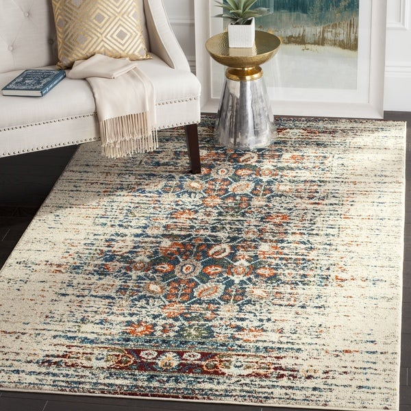 Safavieh Monaco Vintage Distressed Ivory / Blue Distressed Rug - 3' x 5'