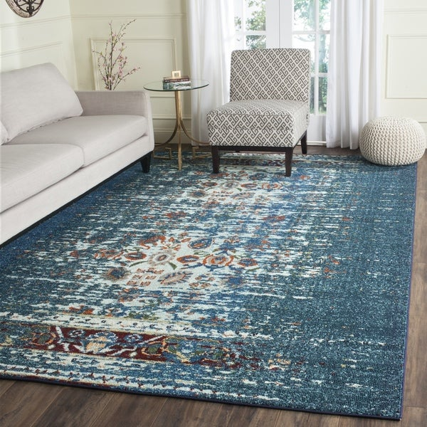 Safavieh Monaco Vintage Distressed Blue/ Ivory Distressed Rug (3' x 5')