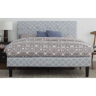 Classic Deluxe Blue Linen Low Profile Platform Bed Frame with Tufted Headboard