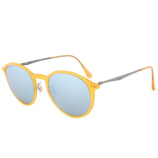 Ray-Ban Round Light Ray RB4224 618630 Unisex Yellow Frame Silver Mirror Lens Sunglasses