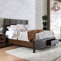 Furniture of America Amber Contemporary Rustic Slatted Wingback Storage Bed
