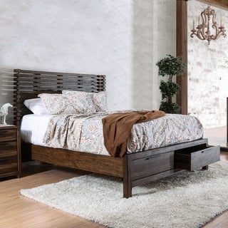 Furniture of America Amber Contemporary Rustic Slatted Wingback Storage Bed (Option: King)