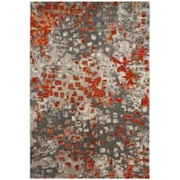 Safavieh Monaco Abstract Watercolor Grey / Orange Distressed Rug - 3' x 5'