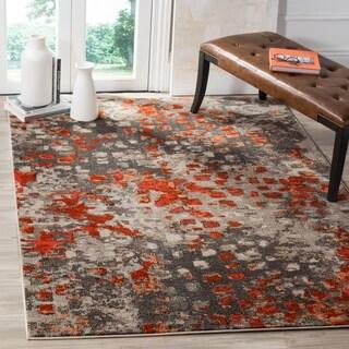 Safavieh Monaco Abstract Watercolor Grey / Orange Distressed Rug (4' x 5' 7)