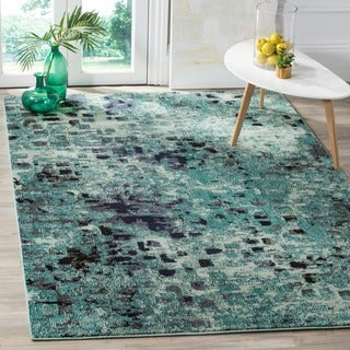 Safavieh Monaco Abstract Watercolor Light Blue/ Multi Distressed Rug (3' x 5')