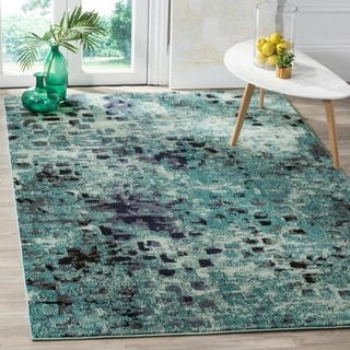 Safavieh Monaco Abstract Watercolor Light Blue/ Multi Distressed Rug (4' x 5' 7)