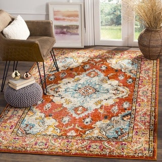 Safavieh Monaco Vintage Boho Medallion Orange/ Light Blue Rug - 3' X 5'