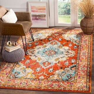Safavieh Monaco Bohemian Medallion Orange/ Light Blue Distressed Rug (4' x 5' 7)