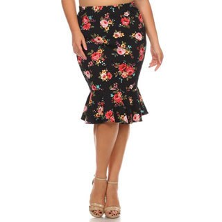 MOA Collection Women's Floral Plus-size Mermaid Skirt
