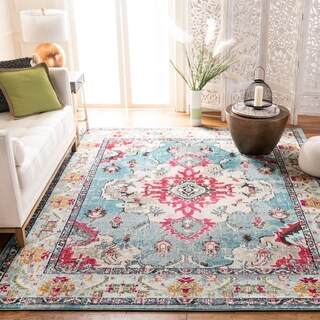 Safavieh Monaco Bohemian Medallion Light Blue/ Fuchsia Distressed Rug - 4' x 5' 7