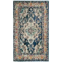 Safavieh Monaco Vintage Boho Medallion Navy / Light Blue Rug - 3' x 5'