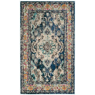 Safavieh Monaco Bohemian Medallion Navy / Light Blue Distressed Rug (3' x 5')