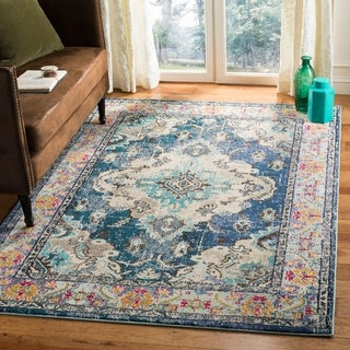 Safavieh Monaco Vintage Boho Medallion Navy / Light Blue Rug - 4' x 5' 7