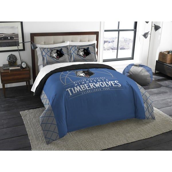 The Northwest Co NBA Timberwolves Minnesota Reverse Slam Blue and Grey Full/Queen 3-piece Comforter Set