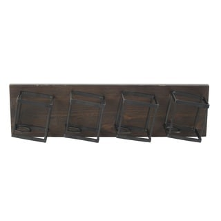 Mahogany Brown Wood/Metal 4-Bottle Wall Mount Wine Storage Rack