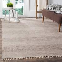 Safavieh Montauk Handmade Striped Flatweave Ivory/ Steel Grey Cotton Rug - 4' x 6'