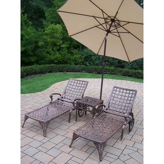 Merit Cast Aluminum Beige Umbrella 5-piece Chaise Lounge Set