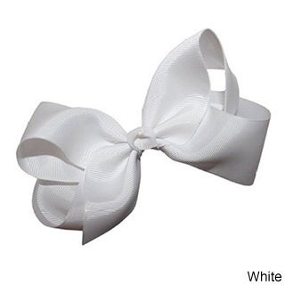 100% Love Bright Colors Grosgrain Ribbon Bows with Alligator Clip (Option: White)