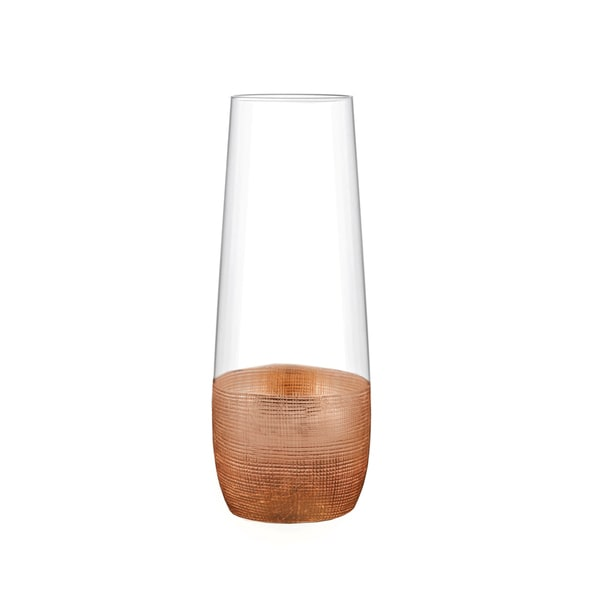 Fitz Floyd Glass Copper-finished Stemless Flutes (Pack of 4)