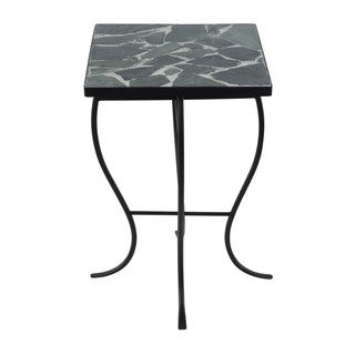 Mosaic Stone Tile and Metal Square-top Table