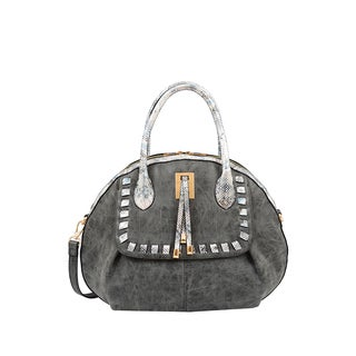 Mellow World Maya Black Faux-suede Seashell-shaped Satchel Handbag