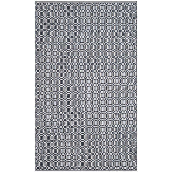 Safavieh Montauk Handmade Geometric Flatweave Ivory/ Navy Cotton Rug - 3' x 5'