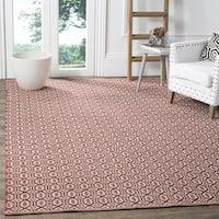 Safavieh Montauk Handmade Geometric Flatweave Ivory/ Red Cotton Rug (3' x 5')