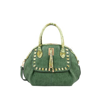 Mellow World Maya Emerald Faux Leather and Faux Suede Seashell-shaped Satchel Handbag