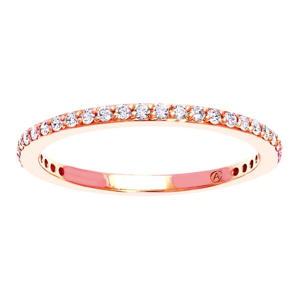 10k Rose Gold 1/ 4ct TDW Diamond Stackable Anniversary Band