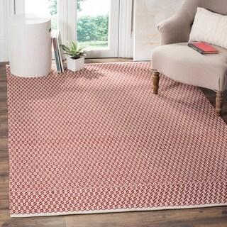 Safavieh Montauk Handmade Geometric Flatweave Ivory/ Red Cotton Rug (4' x 6')