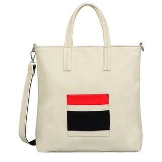 Mellow World Raelyn Beige Faux Leather Medium Tote Bag