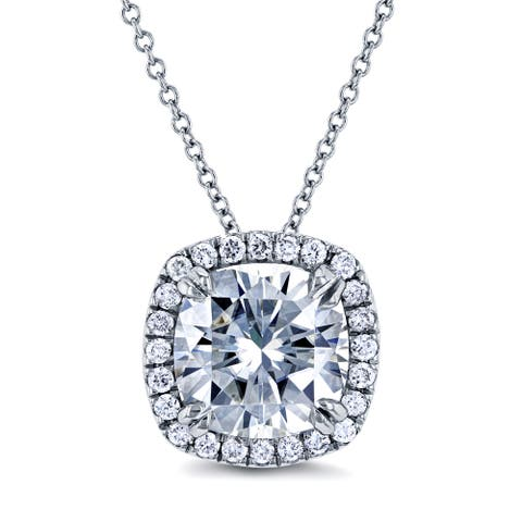 Annello 14k White Gold 8.5mm Moissanite (FG) and 1/5ct TDW Halo Diamond (GH) Cushion Pendant and Gold Chain