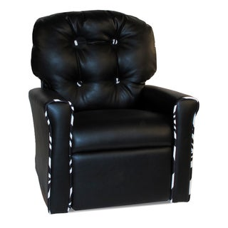 Dozydotes 4-button Black Leather-like/Zebra-accent Rocker Recliner
