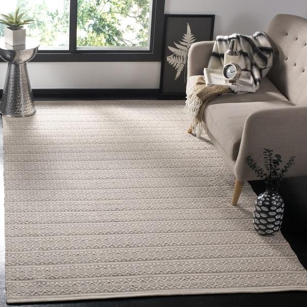 Safavieh Montauk Handmade Geometric Flatweave Ivory/ Grey Cotton Rug - 3' x 5'