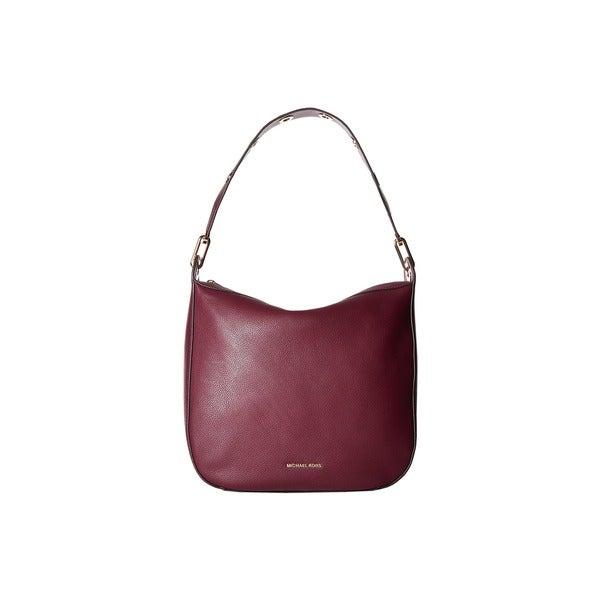 18bd86f19ab0 Shop Michael Kors Women s Raven Large Plum Leather Shoulder Handbag ...