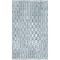 Safavieh Montauk Handmade Geometric Flatweave Ivory/ Light Blue Cotton Rug - 3' x 5'